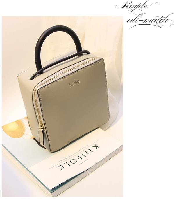 【韩版简约设计立体正方形盒子箱型手提包】-包包