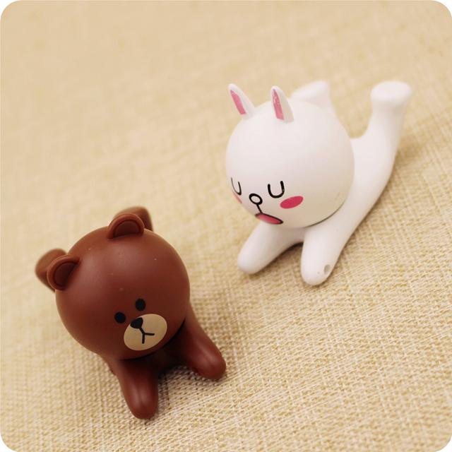 【苹果6创意卡通布朗熊兔子通用手机支架】-配饰