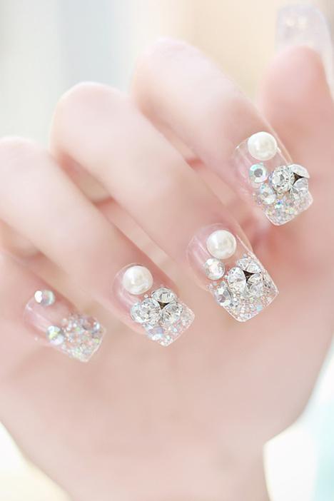 成品美甲, 假指甲,可爱指甲贴片,花朵指甲贴片