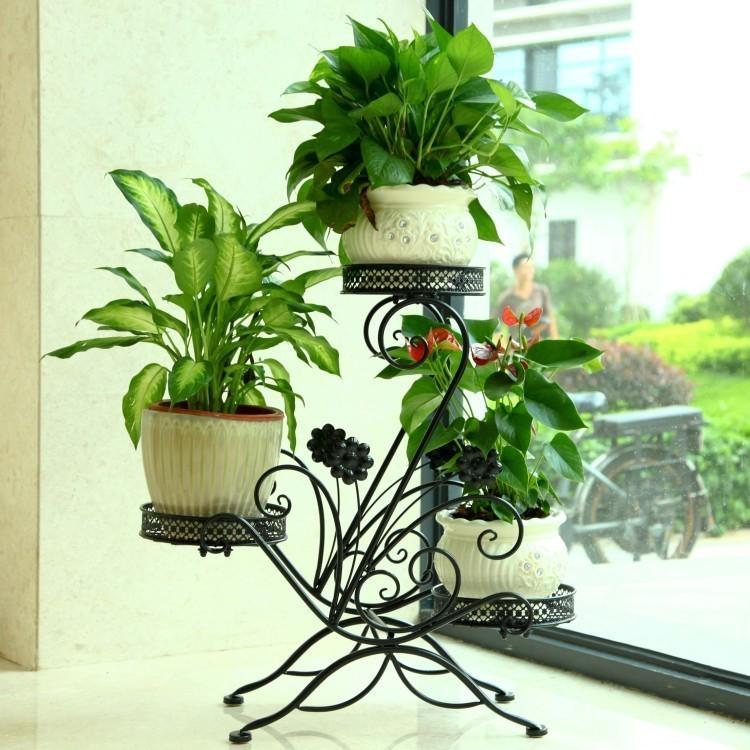 【艺雅阁欧式铁艺实木多层室内阳台客厅木质花架花盆