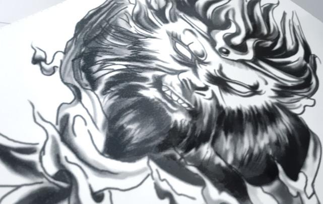 纹身图案 孙悟空花臂纹身手稿素材 > 手臂齐天大圣孙悟空 纹身