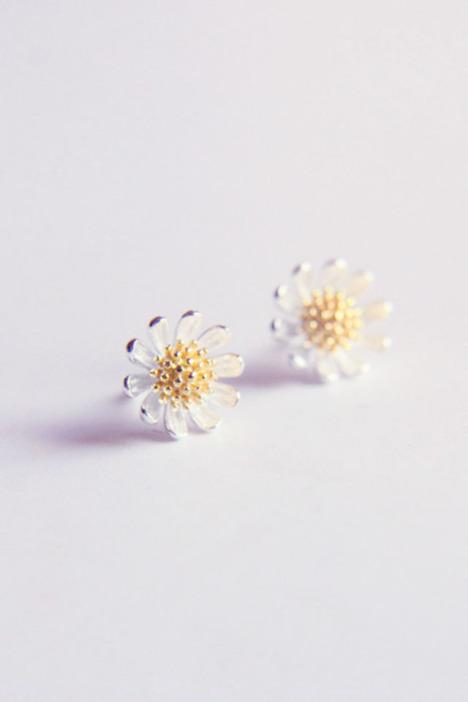 耳钉,小雏菊,新款,2014,复古,花朵,s925,纯银,简约,百搭,甜美,可爱,气