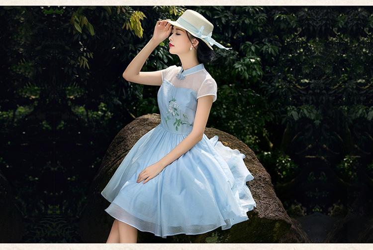 2015夏季新款女装立领清新手绘旗袍连衣裙雪纺复古中裙
