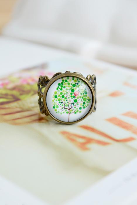 戒指,礼物,小清新,闺蜜,复古,情侣,森系,手绘,手工制作,小树,时光宝石