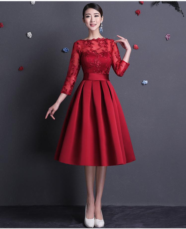 【2015夏季新款宴会晚礼服短款一字肩蕾丝长袖结婚服