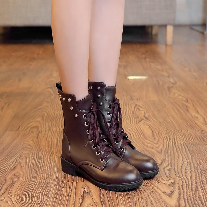 【《洛丽塔》英伦复古系带中跟短靴】-鞋子-靴子_女鞋