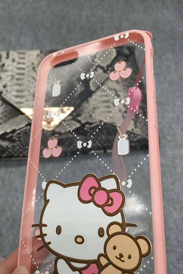 【kitty猫iphone5/5s/6/6p全包边框挂绳手机壳】