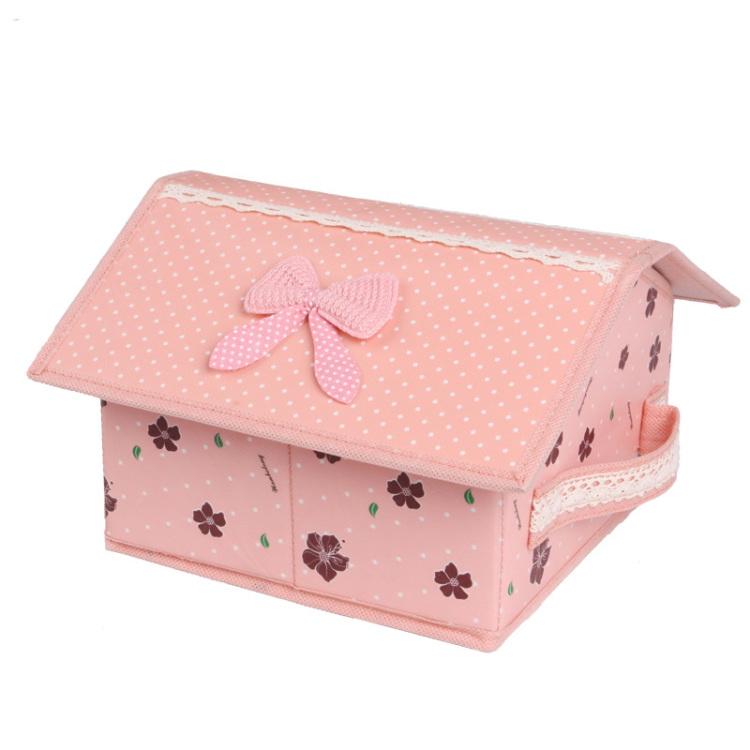 万波龙幸福花语 小房子造型整理盒 储物箱 袜子内衣收纳盒 覆膜防水