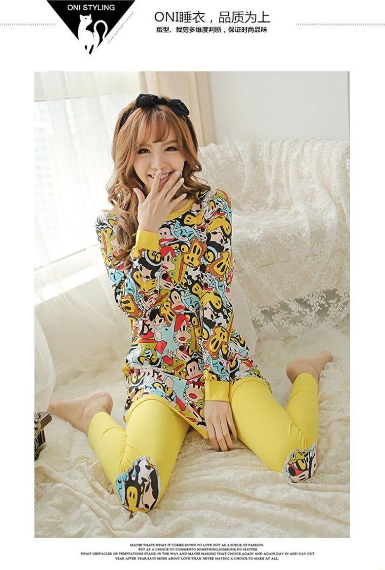 韩国初秋可爱小黄猴睡衣套装