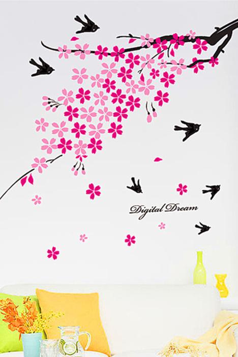 温馨桃花燕子墙贴画