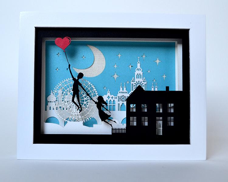 礼物3d 立体纸艺装饰画 立体剪纸 创意纸雕 情侣 摆件