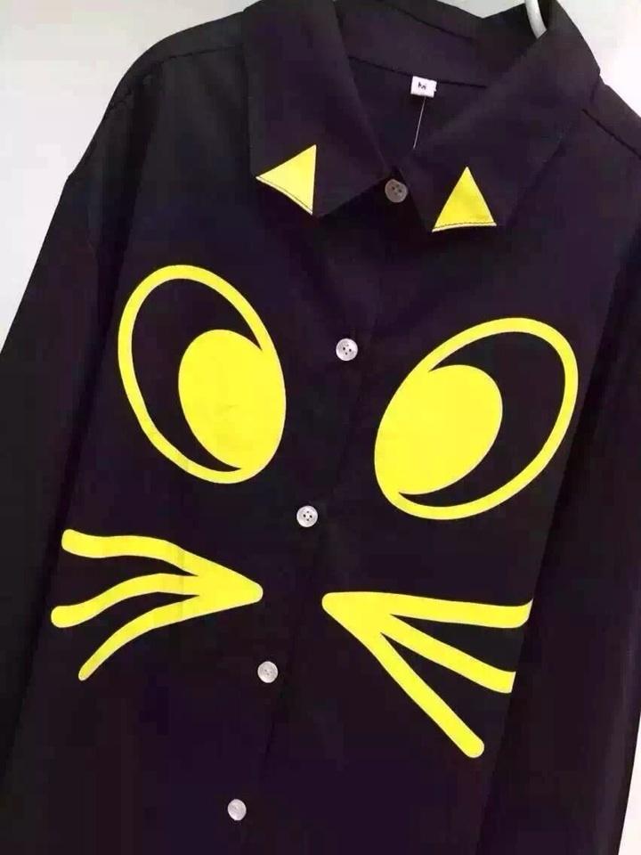 经典黑色系衬衫柠檬色简笔画图案