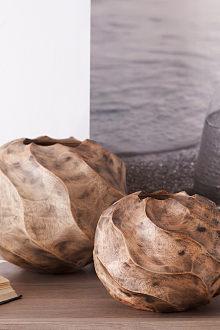 Bình hoa trang trí màu lá cọ, làm bằng gỗ xoài