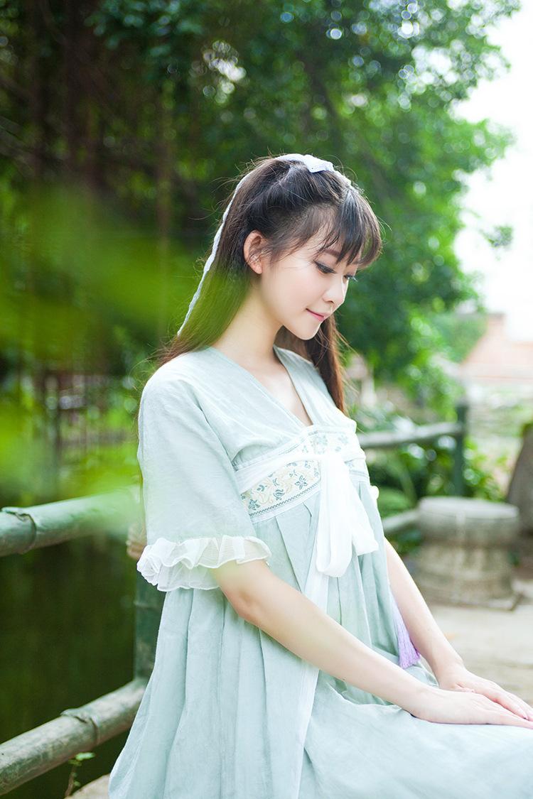 幽若 少女日常汉元素 一件式齐胸襦短袖娃娃款长裙复古文艺森女