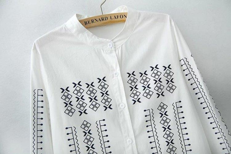 爱丽丝 几何印花韩版棉衬衫