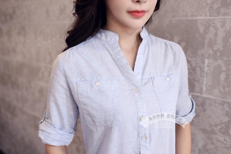 【小清新宽松棉麻挽袖衬衫】-衣服-服饰鞋包