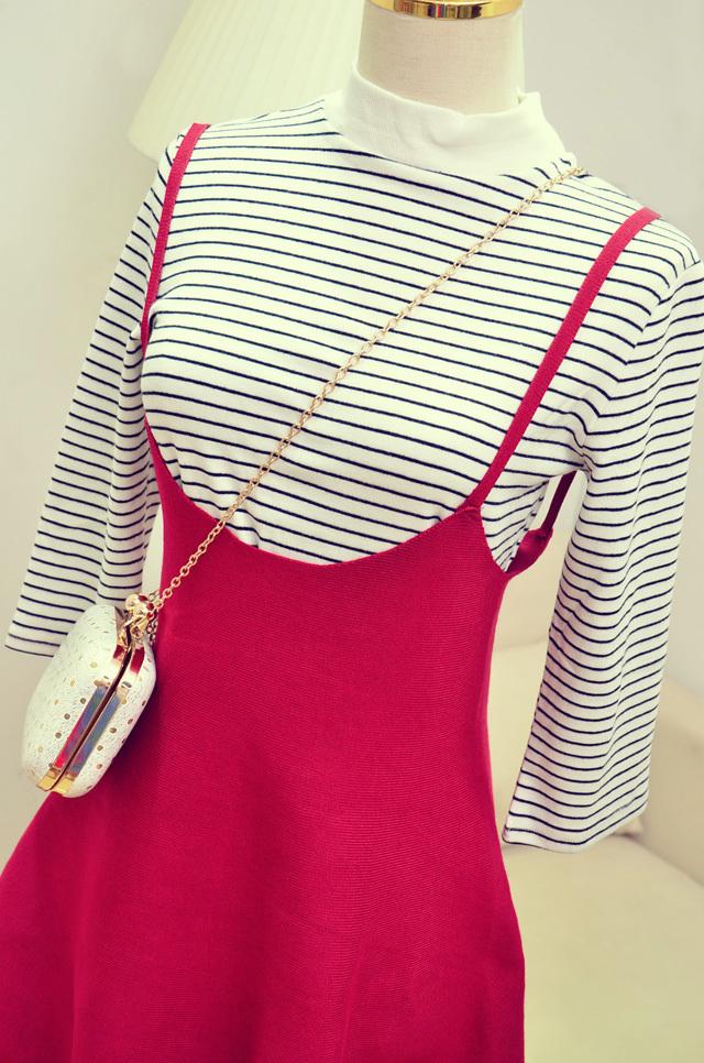 【高腰针织背带裙】-衣服-半身裙