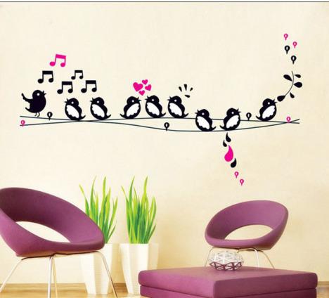 三代环保墙贴 卡通可爱音符立体墙贴 小鸟唱歌