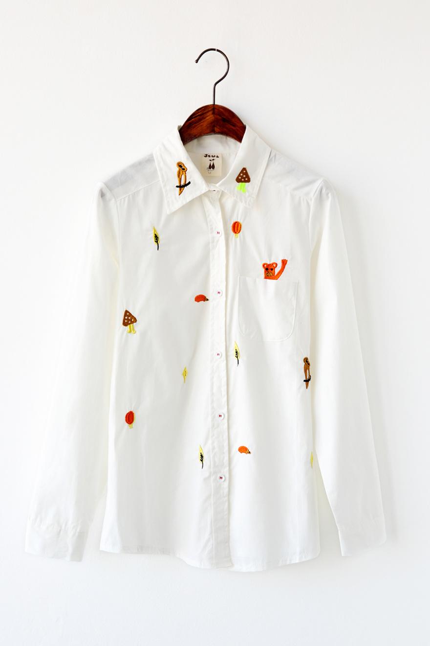 上帝是女孩 甜美可爱刺绣小动物棉麻衬衫
