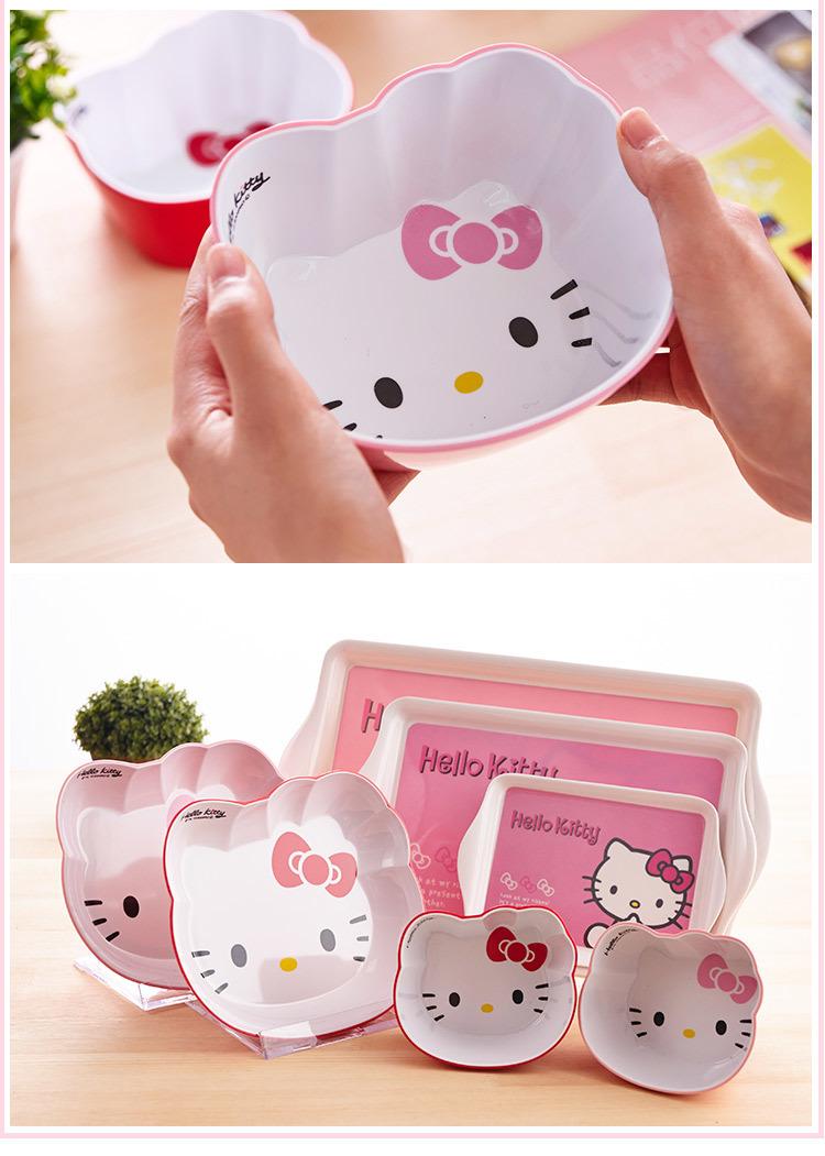 kitty日式可爱密胺餐具儿童饭碗仿瓷碗凯蒂猫创意水果盘子