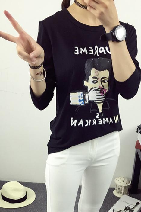 新款创意人头印花长袖t恤