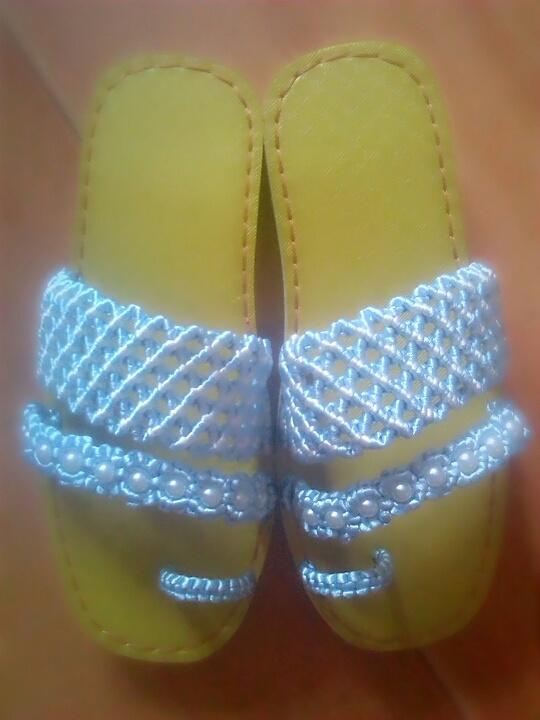 中国结手工编织珍珠夹脚拖鞋.