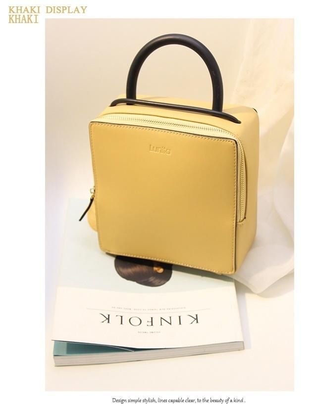 【韩版简约设计立体正方形盒子箱型手提包】-无类目
