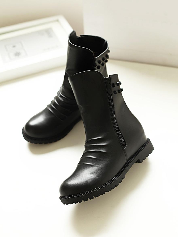 【《洛丽塔》学院风平底铆钉短筒靴】-鞋子-靴子_女鞋