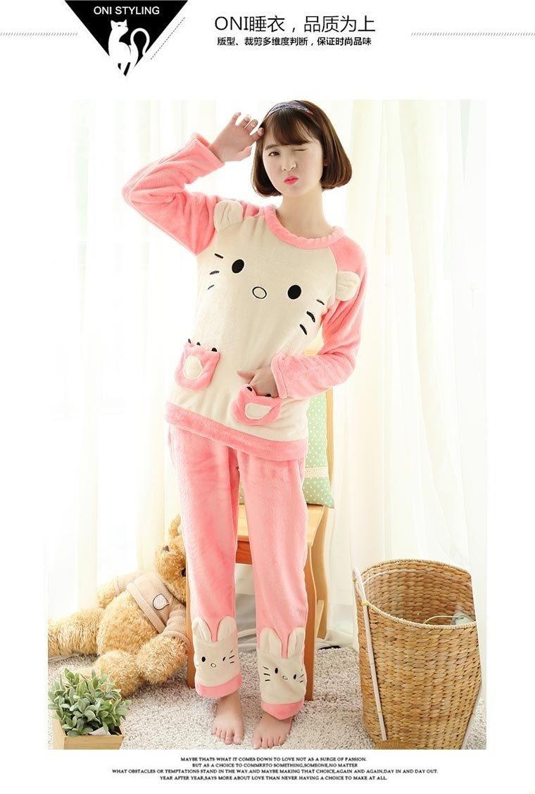 韩国秋冬可爱猫咪睡衣套装穿着效果