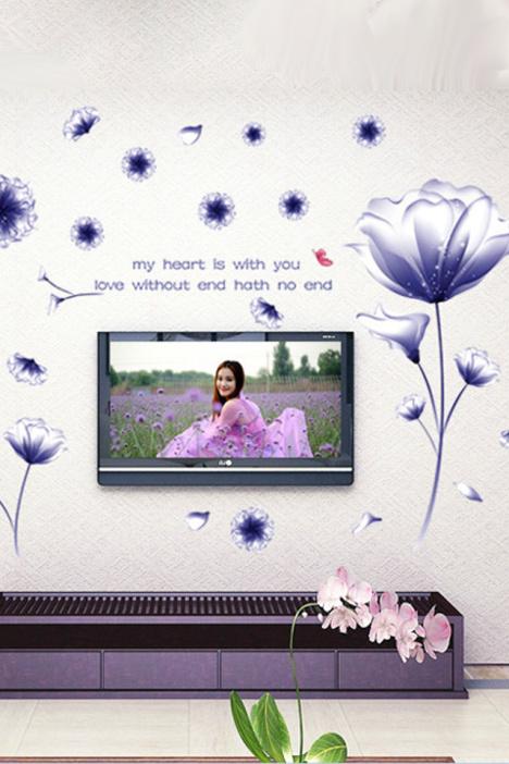 【紫色芙蓉花客厅电视机背景墙贴】-家居-贴饰