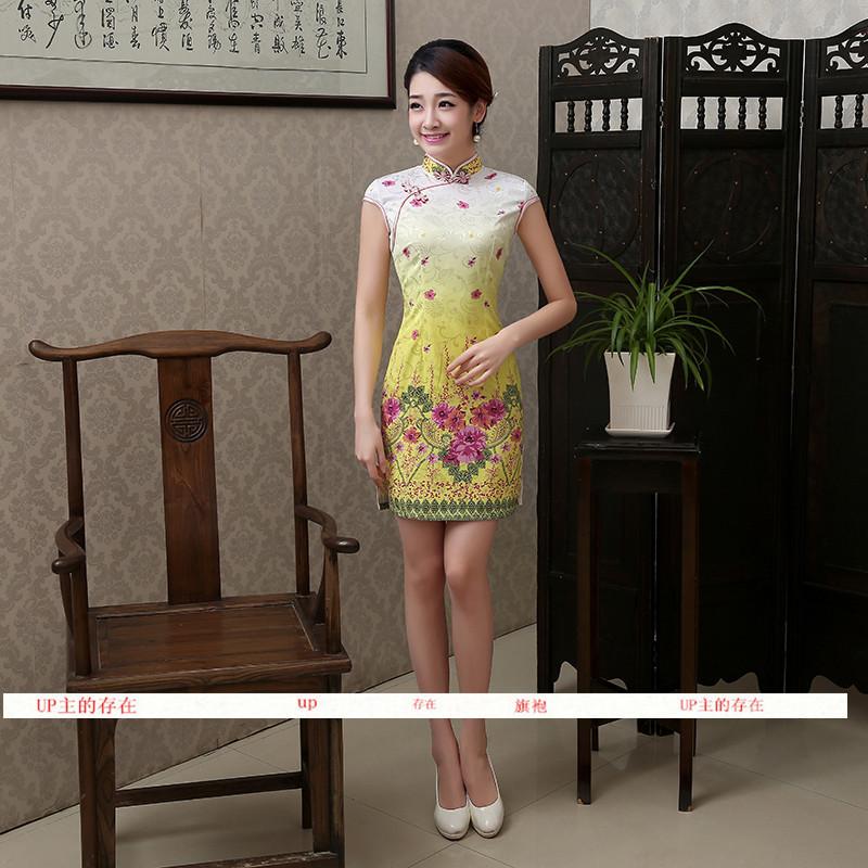 2015经典短款旗袍连衣裙