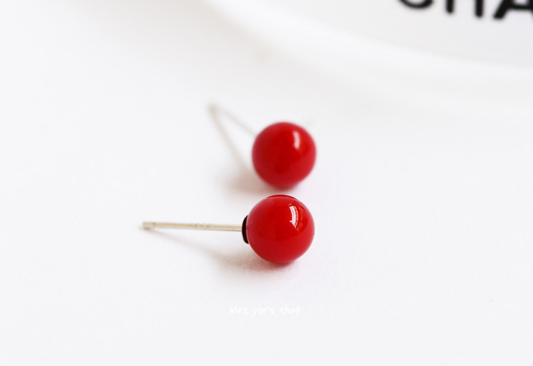 925纯银清新珊瑚红圆珠耳钉