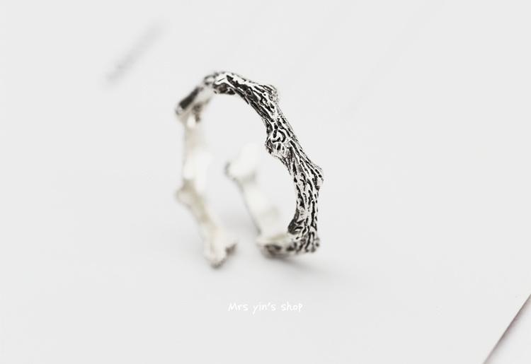 925纯银手工个性树枝戒指