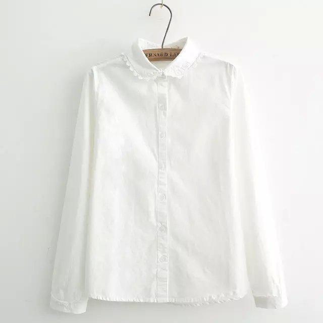 小清新刺绣花边领子纯棉白衬衫