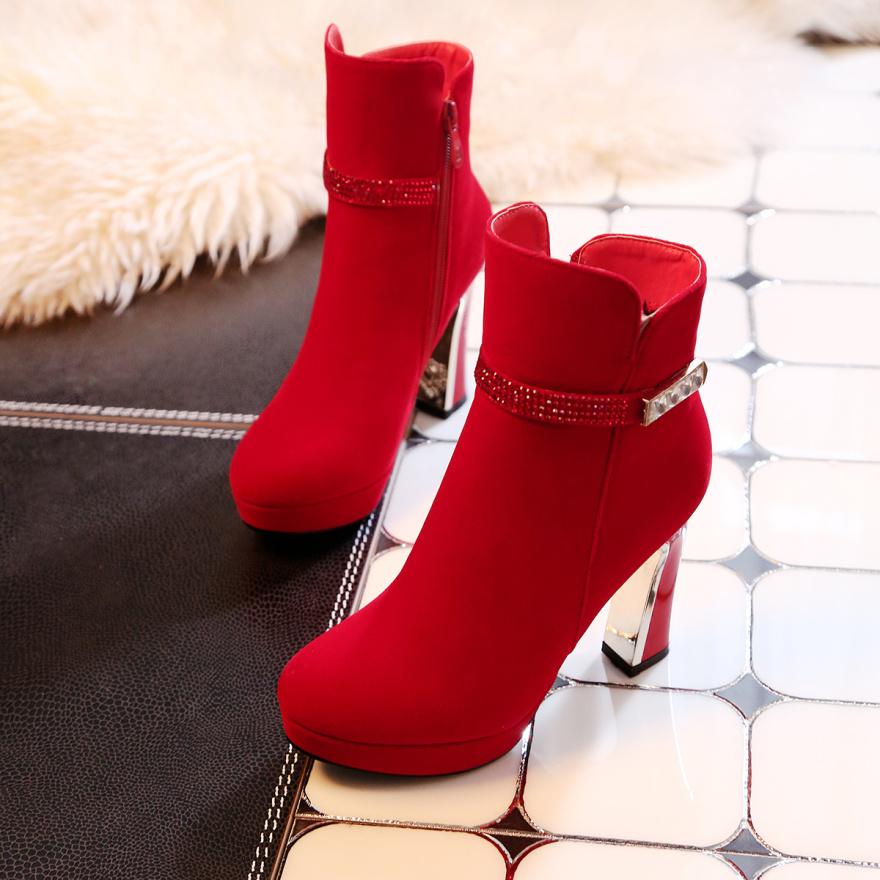 【《洛丽塔》欧美范粗跟及踝短靴】-鞋子-靴子_女鞋