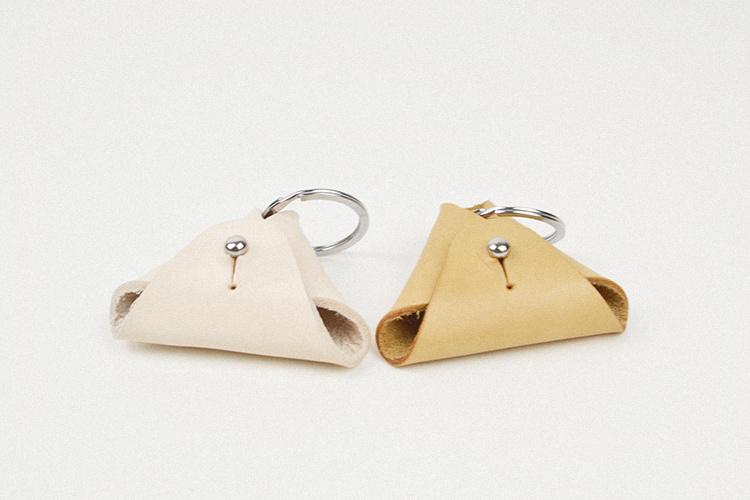 耀点生活|三角形零钱包 植鞣牛皮手工制作硬币收纳包 可当挂件