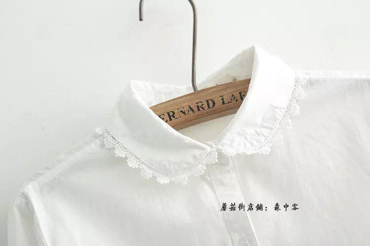 2015秋季新款韩版森系小清新蕾丝花边长袖打底白衬衫