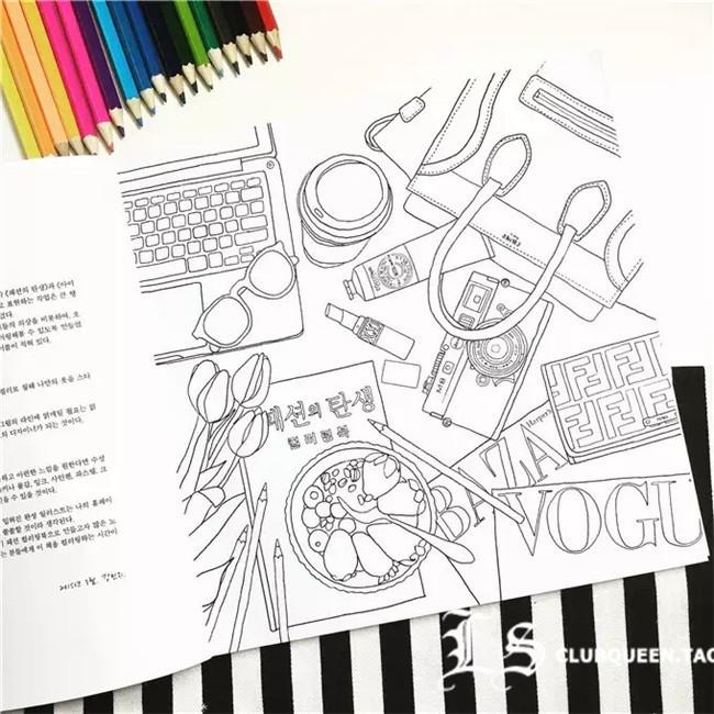 减压涂鸦本填色手绘本书
