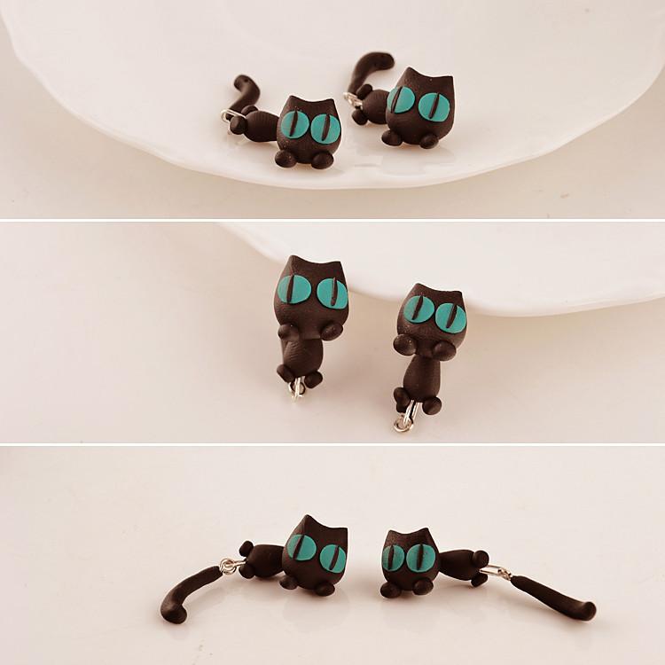 批发创意可爱手工软陶3d小动物猫咪耳钉耳饰时尚个性配饰耳环