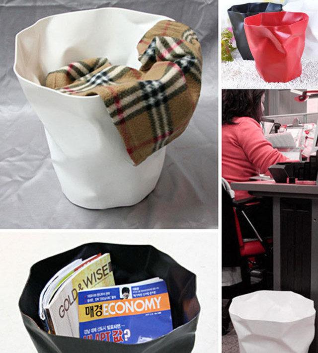 【创意褶皱造型垃圾桶】-null-百货