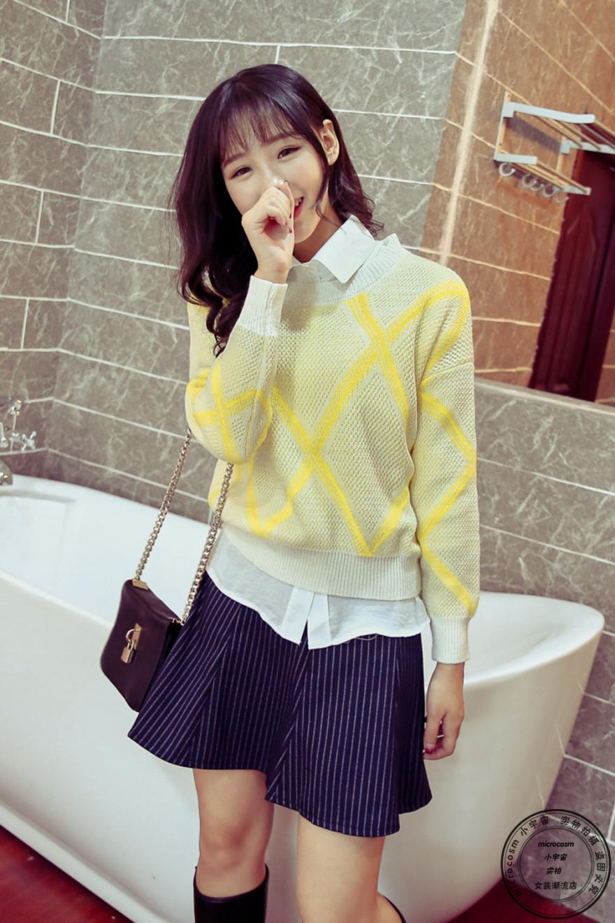 【赵丽颖同款清新毛衣 白衬衫 半身裙 三件套】-衣服