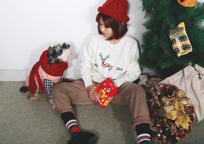 韩国学院风小鹿可爱毛衣