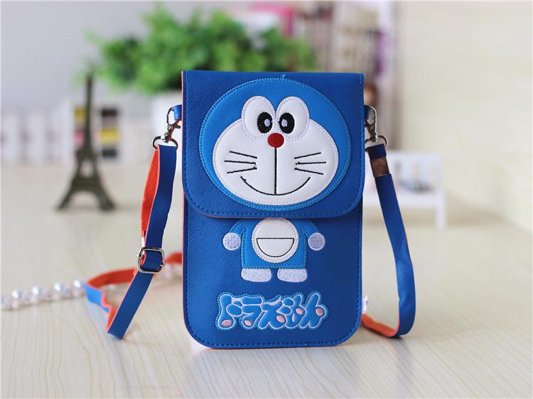 哆啦a梦机器猫 单肩斜挎包 卡通透明手机包 挂脖零钱包手机袋