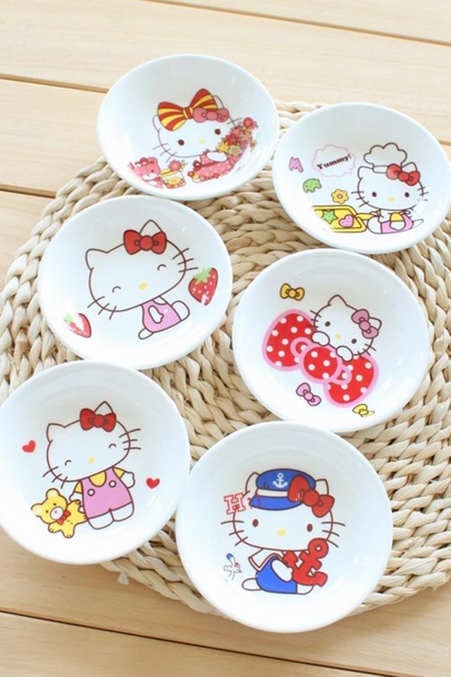 kitty 可爱陶瓷菜碟小碗碟6只装