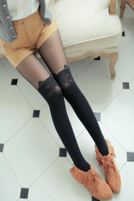 可爱猫咪假大腿过膝连裤袜