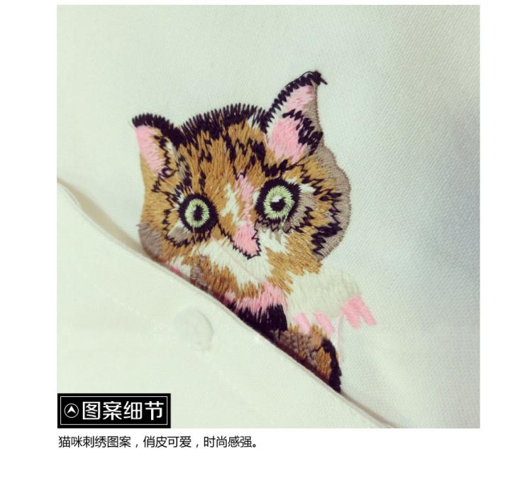 可爱小猫刺绣棉麻衬衫