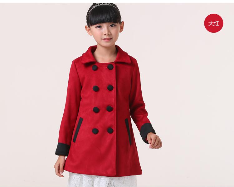 童装女童秋装外套2015新款女童毛呢外套儿童中长款双排扣风衣