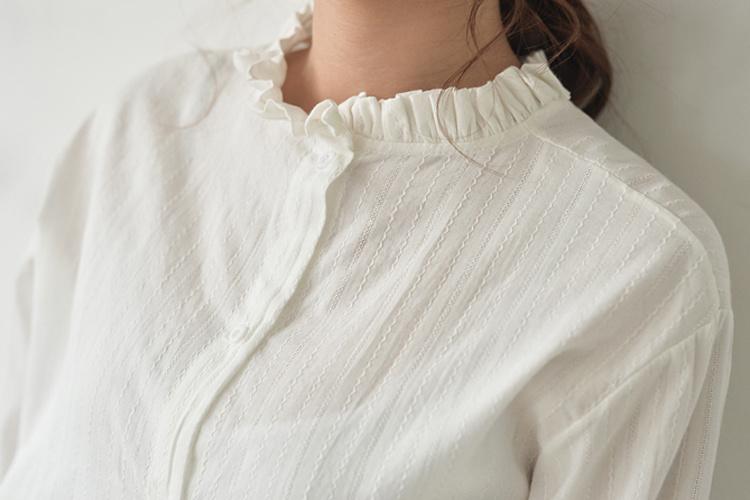 【韩版小清新花边立领棉麻长袖衬衫】-衣服-衬衫