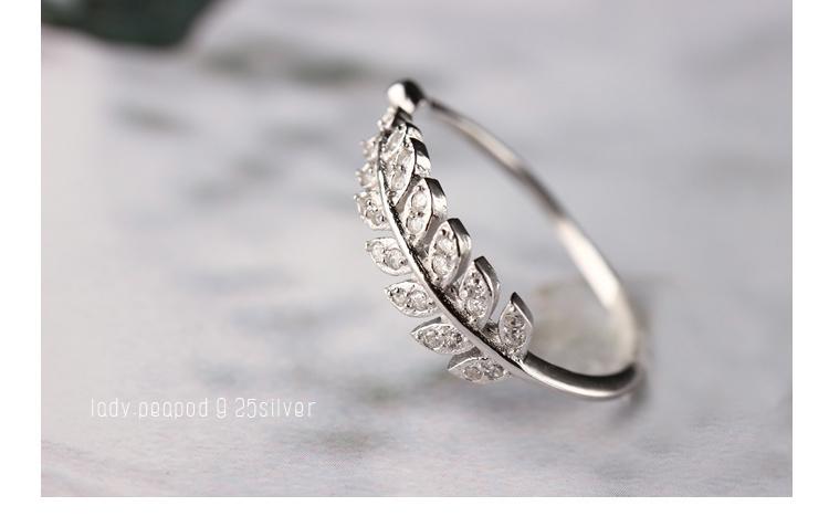 s925纯银水晶树叶戒指