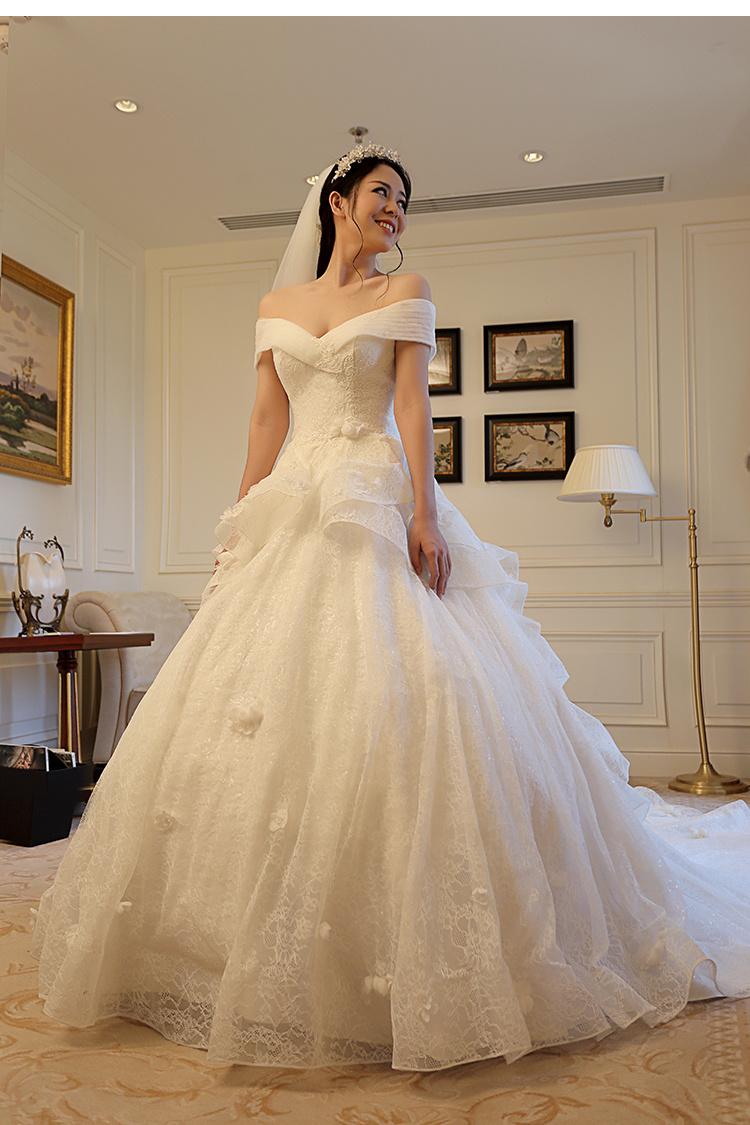【2015新款婚纱 蕾丝婚纱一字肩欧式婚纱拖尾婚纱